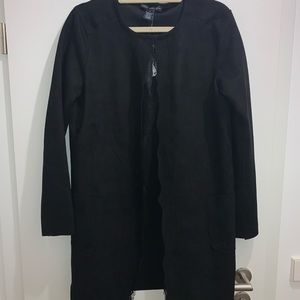 Faux suede overcoat